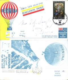 (New Zealand) First New Zealand balloon post, 17th Pestalozzi Children's Village, postmarked Auckland, souvenir card.