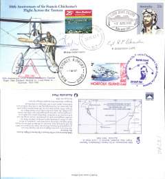 (Australia) 50th anniversary of Sir Francis Chichester'e flight across the Tasman, souvenir cover signed by the pilot Capt RE Ockenden.