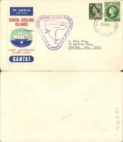 (Australia) Qantas F/F Cocos Islands-Australia, no arrival ds, official souvenir cover franked 6 1/2d.