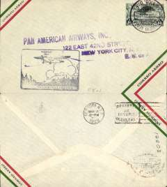 (Mexico) F/F FAM 8, Mexico City to Brownsville, purple cachet, b/s New York 11/3, airmail cover, Pan Am
