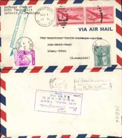 """(United States) Airmail round trip test cover to Peru, Lima b/s, franked 10c canc, also Peru stamp cancelled for return, and violet boxed reception cachet verso. These test covers are reported as being """" souvenirs of an important new rate which is not listed in AAMC"""" (ref March 1996 American Philatelist ) and of """"as yet unrecognized, scarcity"""" (ref R. Saundry, Apr/June 1998 JLKAL)."""