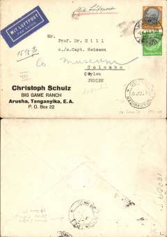 (Germany) Air cover, Germany to Ceylon, Heldungen to Colombo, 18/6 arrival ds on front, via Down India Ceylon TPO 17/6 verso, Christph Schultz, Big Game Ranch, Arusha, Tanganyika corner cover franked 105pf, ms '15 1/2gr', 'Mit Luftpost', blue/white airmail etiquette. Uncommon origin/dstinaion,interesting.