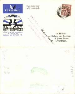 """(GB Internal) Railway Air Service, new air mail service, F/F Birmingham to Liverpool, carried all the way by air on the first day of the service 20th August 1934, special envelope prepared for the parent company Imperial Airways Ltd, franked KGV 1 1/2d and postmarked Birmingham 20 Aug 1934 8.30am, violet three line """"Posted (ms Manchester) under cover to Postmaster Birmingham"""" hs, typed """"Manchester-Liverpool""""."""