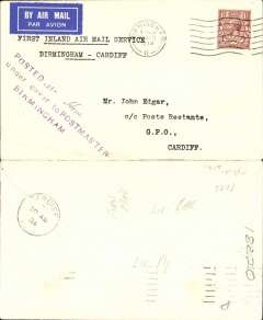 (GB Internal) Railway Air Service, new air mail service, F/F Birmingham to Cardiff, bs 20 Aug 1934, carried all the way by air on the first day of the service 20th August 1934, plain cover franked KGV 1 1/2d and postmarked Birmingham 20 Aug 1934 8.30am, typed 'First Inland Air Mail Service/Birmingham-Cardiff'. Arrival date stamps are less common.