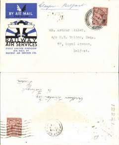 (GB Internal) Railway Air Service, new air mail service, F/F Glasgow to Belfast, bs 20 Aug 1934 4pm, carried all the way by air on the first day of the service 20th August 1934, special envelope prepared for the parent company Imperial Airways Ltd, franked KGV 1 1/2d and postmarked Glasgow 20 Aug 1934 6am.