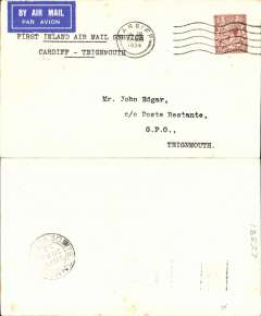 (GB Internal) Railway Air Service, new air mail service, F/F Cardiff to Teigmouth, carried all the way by air to Plymouth on the first day of the service, 20th August 1934, and then returned by rail to Teignmouth, plain cover franked KGV 1 1/2d and postmarked Cardiff 20 Aug 1934 10am, typed 'First Inland Air Mail Service/Cardiff-Teigmouth'. No mail was unloaded at Teignmouth (Haldon) on the south-bound journey and, after the 20th August, Haldon was cut out of the mail carrying programme entirely. So, the only covers actually flown to and unloaded at Haldon, are north-bound covers of 20 August. Interesting.