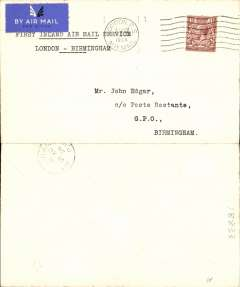 (GB Internal) Railway Air Service, new air mail service, F/F London to Birmingham, bs 21 Aug 1934, carried all the way by air on the first day of the service 20th August 1934, plain cover franked KGV 1 1/2d and postmarked London 20 Aug 1934 1.15pm, typed 'First Inland Air Mail Service/London -Birmingham'.