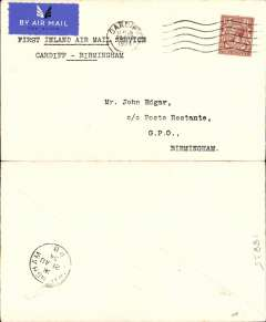 (GB Internal) Railway Air Service, new air mail service, F/F Cardiff to Birmingham, bs 21 Aug 1934, carried all the way by air on the first day of the service 20th August 1934, plain cover franked KGV 1 1/2d and postmarked London 20 Aug 1934 11.45am, typed 'First Inland Air Mail Service/Cardiff -Birmingham'. Arrival date stamps are less common.
