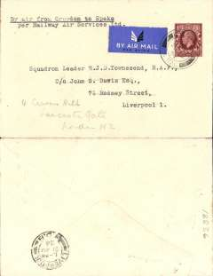 """(GB Internal) Railway Air Service, new air mail service, F/F London to Liverpool, bs 21 Aug 1934, carried all the way by air on the first day of the service 20th August 1934, plain cover franked KGV 1 1/2d photogravure stamp and postmarked London 20 Aug 1934 11.15am, typed 'By Air from Croydon to Speke/per Railway Air Services Ltd'. """"The 1 1/2d photogravure stamp was issued the same day the RAS scheme came into operation. Since the vast majority of covers were stamped in advance, flown covers of the 20th August franked with this stamp are relatively uncommon, ref Redgrove  p65."""