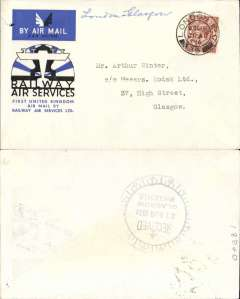 (GB Internal) Railway Air Service, new air mail service, F/F London to Glasgow, bs 21 Aug 1934, flown as far as Birmingham on 20th, special envelope prepared for the parent company Imperial Airways Ltd, franked KGV 1 1/2d and postmarked Birmingham 20 Aug 1934 12.30pm.