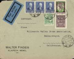 (Lithuania) Lithuania to USA, Klaipeda to California, no arrival ds, via Berlin Zentral Flughafen19/12/36 cds, commercial corner cover franked  120c canc Klaipeda cds, black/green blue Lithuania airmail etiquette rated rare by Mair. Airmail from Lithuania is uncommon.