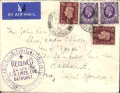 "(GB External) Imperial Airways/DLH, England to the Gambia, bs Bathurst 22/4, also very fine strike Elder Demster Lines Ltd/22 Apr 1938/Bathurst  clock receiver cachet on front, plain cover correctly rated 9d, canc Liverpool cdsa, red German ""Europa-Sudamerika"" cachet on front, carried all-air to Gambia via the Deutsche Lufthansa South Atlantic Airmail Service."