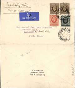 (GB External) London to San Juan, Porto Rico, Jul 27th receiver on front, plain airmail etiquette cover franked 2/6d, canc Liverpool 18 JY 37, ms 'Via New York/thence airmail' (US internal air service). Uncommon destination.