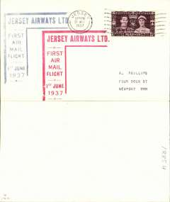 (Channel Is) Jersey Airways F/F Jersey to Southampton, plain cover franked 1 1/2d, blue and red Jersey Airways Ltd cachets on front.