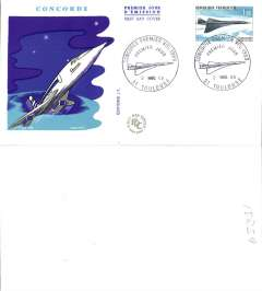 (Concorde) France souvenir FDC franked 1969 Concorde's First Flight, 1.00F.