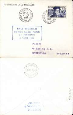 (Helicopter) Sabena, first helicopter flight, Lillie to Brussels, bs 5/10, special postmark, blue framed flight cachet, black straight line 'Par Helicoptere Lillie-Brussels', plain cover franked 30F.