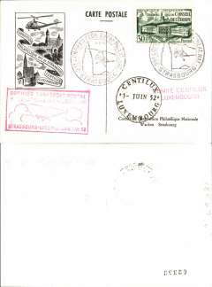(Helicopter) France, special Council of Europe helicopter flight, Strasbourg to Luxembourg, 1/6 arrival ds on front, special card, franked  Council of Europe 30F, canc special Strasbourg Expo  cds, red framed souvenir flight cachet. Scarce.