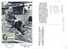 (Helicopter) France, attractive souvenir maxi card franked FDI 1957 Helicoptere 'Oehmichen' (inventor of the helicopter) 30F.