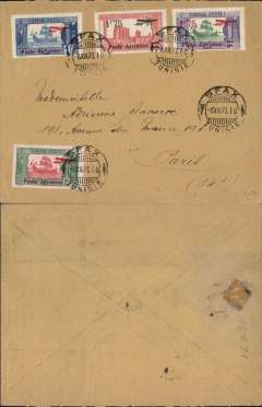 (Tunisia) Air Union/Air France, early airmail cover to Paris, no arrival ds, franked 1927 air set of 4 values (issues for use on the Tunis-Antibes Line), canc 'Sfax/6 XII 27' cds. Sfax is 130 miles SE Tunis. Uncommon origin and early flight on the Air Union Tunis-Antibes service.