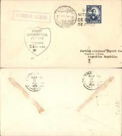 "(Chile) 3rd South American Test Flight (Lt James Doolittle), Santiago to Buenos Aires, b/s 8/5, black ""Shield"" cachet, red boxed ""Correo Aereo"" hs, addressed to Curtis Airplane Co,"
