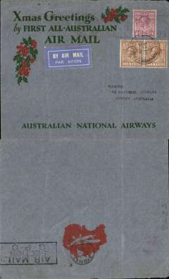 "(GB External) Australian National Airways, return of ""All Australian"" flight carrying Christmas 1931 mails, London to Sydney, b/s 22/1, red/green/grey ANA Xmas Greetings cover, franked 1/4d canc London  21 Dec 31 cds. Ironed vertical crease, otherwise fine."