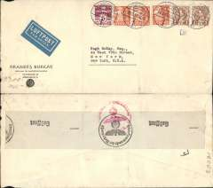 (Denmark) WWII censored high franked airmail, Copenhagen to New York, no arrival ds, Brandt's Bureau commercial corner cover, 20x10cm, franked 2k 65o, canc Copenhagen cds, sealed verso black/white OKW code e (Frankfurt) censor tape, tied red OKW (f) censor mark. Carried Copenhagen-Frankfurt-Lisbon by DLH, the to Miami by Pan Am FAM 18. The total airmail rate for a 5gm letter from Denmark to the US by this route until December 1941 was 125o, see Boyle p337, so did this cover go by a more circuitous route via Moscow, Vladivostok, Japan and San Francisco, see Boyle 333, ironed vertical crease. An interesting item.