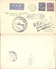 "(GB External) Aktie Bcalget Aerotransport, return of Fourth Trial Night Air Mail Flight, London to Stockholm, bs 1/9, plain airmail etiquette cover franked 5 1/2d canc Liverpool cds, large black circular ""plane"" and four line ""Air post Office London-Stockholm /Overnight Service 31 Aug-1 Sep 1928"" flight cachets."