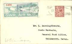(GB Internal) F/F first official airmail, Great Western Railway extension to daily air service, Birmingham to Torquay, franked pale blue-green/white GWR 3d Air Stamp tied by framed 'GWR/22 May 33/Birmingham', posted on arrival, franked 1 1/2d canc 'Torquay/1 1.15pm/22May/Devon', and on to Teignmouth bs 22/5. Francis Field authentication hs verso.