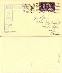 (Channel Is) Jersey Airways, F/F Jersey to Southampton, no arrival ds, plain cover franked 1 1/2d, large blue angular flight cachet.