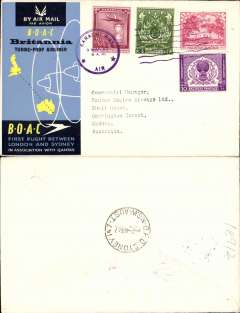 (Pakistan) BOAC F/F Britannia Turbo-Prop, Karachi to Sydney, bs, official cover.