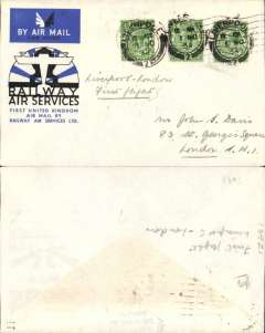 (GB Internal) Railway Air Service, new timetable Liverpool replaces Manchester and Birmingham, first direct flight Liverpool to London, RAS souvenir cover franked 1 1/2d canc Liverpool/1 Nov/34 10amcds. This was the first time that Liverpool was put into regular aerial communication with Scotland and Ireland, and the first time also that RAS carried mail direct from Liverpool to Croydon (for London), see Redgrove p71. A discerning addition to an RAS collection.