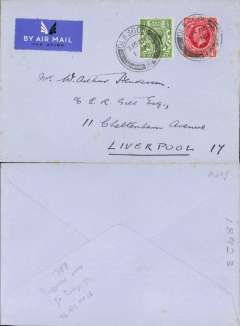 (GB Internal) Railway Air Service, new timetable Liverpool replaces Manchester and Birmingham, first flight Glasgow to Liverpool, plain cover franked 1 1/2d canc Glasgow/1 Nov/34 7.15am cds. This was the first time that Liverpool was put into regular aerial communication with Scotland and Ireland, and the first time that RAS carried mail between Glasgow and Liverpool, see Redgrove p71. A discerning addition to an RAS collection.