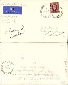 (GB Internal) Railway Air Service, last flights from Manchester and Birmingham, new timetable Liverpool replaces Manchester and Birmingham, London to Manchester, 1/11 arrival ds's front and verso, plain cover franked 1 1/2d canc London SW1 31 Oct 34 cds. This was the last time that mail was carried by air from London to Manchester, see Redgrove p71. Timetable and route changes make a nice addition to an aerophilatelic collection.