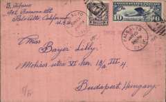 """(United States) Northern Trans Atlantic accelerated airmail from Pao Alto, California to Budapest, bs 29/1, via San Francisco 13/1 and Varrick Street, New York/17/1, plain cover franked 3c Harding and 10c air, canc Pao Alto Jan 13 1928, red straight line """"Via Air Mail"""" hs, flown US internal trans continental service to New York, then surface to London, then London to Continental Europe by air, likely London-Zurich on the Swiss Express, then connecting airline to Budapest. Flown by the United States Air Mail Service in conjunction with the London to Continental Europe air mail service, as per the June 1927 supplement, US Postal Guides and Supplements. An early airmail from the US to an uncommon destination."""