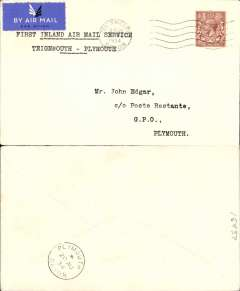 (GB Internal) Railway Air Service, new air mail service, F/F Teignmouth to Plymouth, bs 20/8, carried all the way by air on the first day and only day of a service from Teignmouth, 20th August 1934, plain cover franked KGV 1 1/2d and postmarked Teignmouth 20 Aug 1934 3.10pm, typed 'First Inland Air Mail Service/Teignmouth-Plymouth'. No mail was unloaded, but mail was collected, at Teignmouth (Haldon) on the south-bound journey. However, after the 20th August, Haldon was cut out of the mail carrying programme entirely. So, the only covers actually flown from Teignmouth (Haldon) on the south-bound journey are the Teignmouth-Plymouth covers of 20 August, of which this is one, see Redgrove p61. A discerning addition to an RAS collection.