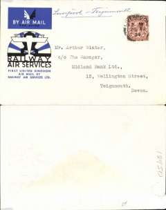 (GB Internal) Railway Air Service, new air mail service, F/F Liverpool to Teigmouth, carried all the way by air to Plymouth on the first day of the service, 20th August 1934, and then returned by rail to Teignmouth, special envelope prepared for the parent company Imperial Airways Ltd, franked KGV 1 1/2d and postmarked Liverpool 20 Aug 1934 2.00am. No mail was unloaded at Teignmouth (Haldon) on the south-bound journey, and after the 20th August, Haldon was cut out of the mail carrying programme entirely. So, the only covers actually flown to and unloaded at Haldon, are north-bound covers of 20 August. Interesting.