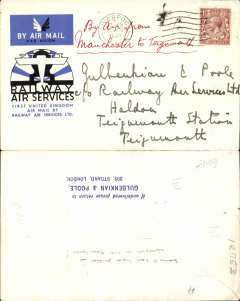 (GB Internal) Railway Air Service, intended F/F Manchester to Teigmouth, special envelope prepared for the parent company Imperial Airways Ltd, franked KGV 1 1/2d and postmarked Manchester 20 Aug 1934 8.30am. However, when the first flight from Glasgow on 20 August reached Manchester, all flights further south were abandoned due to bad weather, and mail was sent on by rail. Unflown, but nevertheless, an important part of the story of the launch of the UK's first national air mail service.