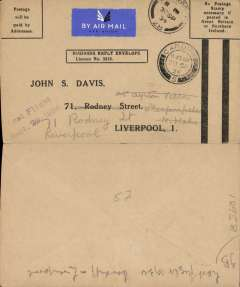 """(GB Internal) Railway Air Service, last flight of the Cardiff-Bristol service, Cardiff to Liverpool, 30/9 arrival ds on front, prepaid business cover, """"Last Flight/Sept 29 1934"""" cachet. The only remaining RAS mail carrying service after this date, and before the introduction of the new service on 1 October, was Glasgow to London via Belfast, Manchester and Birmingham. A nice addition to an RAS collection."""