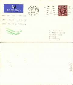 """(GB Internal) Railway Air Service, last flight of the Cardiff-Bristol service, Cardiff to Liverpool, plain cover franked 1 1/2d photogravure stamp canc Cardiff cds, typed """"Railway Air Services/Last 1934 Air Mail/Cardiff to Liverpool"""". The only remaining RAS mail carrying service after this date, and before the introduction of the new service on 1 October, was Glasgow to London via Belfast, Manchester and Birmingham. A nice addition to an RAS collection."""