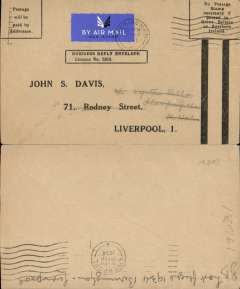 (GB Internal) Railway Air Service, last flight of the Liverpool-Plymouth service, Birmingham to Liverpool, bs 30/9,  to Plymouth, bs 29/9, prepaid business cover canc Birmingham cds. The only remaining RAS mail carrying service after this date, and before the introduction of the new service on 1 October, was Glasgow to London via Belfast, Manchester and Birmingham. A nice addition to an RAS collection.