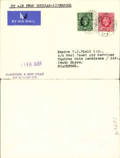 """(GB Internal) Blackpool and West Coast Air Services, first contract, F/F Castletown (Isle of Man) to Liverpool, (all mail now carried at ordinary rates), plain cover franked 1 1/2d, canc Castletown6.45pm 31 Jan 35 cds, official purple company """"1 Feb 1935"""" F/F cachet (more common on mail to the island), purple two line partial strike of six line 'Blackpool and West Coast Air Services.......................' cachet on the front. Owing to the early departure of planes, covers usually bear postmarks of the previous evening."""