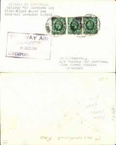 """(GB Internal) F/F New RAS Contract following the expiry of the Hillman AW contract, first direct flight London to Liverpool, plain cover, franked 1 1/2d, addressed to the Company offices and bearing the Company's official black framed four line """"Railway Air/ Serices/2 Dec 1935/Liverpool Lime St"""" receiving cachet, also straight. line """"First Flight"""" hs."""