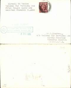 """(GB Internal) F/F New RAS Contract the expiry of the Hillman AW contract, first direct flight Glasgow to London, franked 1 1/2d, plain cover addressed to Company offices and bearing the Company's official green boxed two line 'RAS' London Victoria receiving cachet, also st. line """"First Flight""""."""