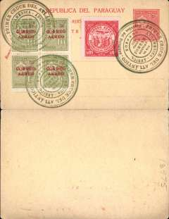 "(Paraguay) 1928, 70 centavos unaddressed red/yellow postal card, with added 10c 'Correo Aereo' opts x4 and 1929 95c red air, all tied by three fine strikes dark green circular Mermoz ""Premier Cruce del Atlantico/Por el Aviador/Mermoz/8 Junio/1930"" cachets. Uncommon."