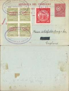 "(Paraguay) 1928, 70 centavos unaddressed red/yellow postal card, with added 10c 'Correo Aereo' opts x4 and 1929 95c red air, all tied by three fine strikes violet oval ""Premier Vuelo Official/Via Panagra/Paraguay a N. America"" cachets. Uncommon."