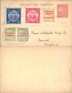 "(Paraguay) 1928, 70 centavos unaddressed red/yellow postal card, with added 10c 'Correo Aereo' opts x4, 50c 'Correo Aereo' opt and 1929 95c red and blue airs, all tied by three fine strikes violet oval ""Premier Vuelo Official/Via Panagra/Paraguay a N. America"" cachets. Uncommon."