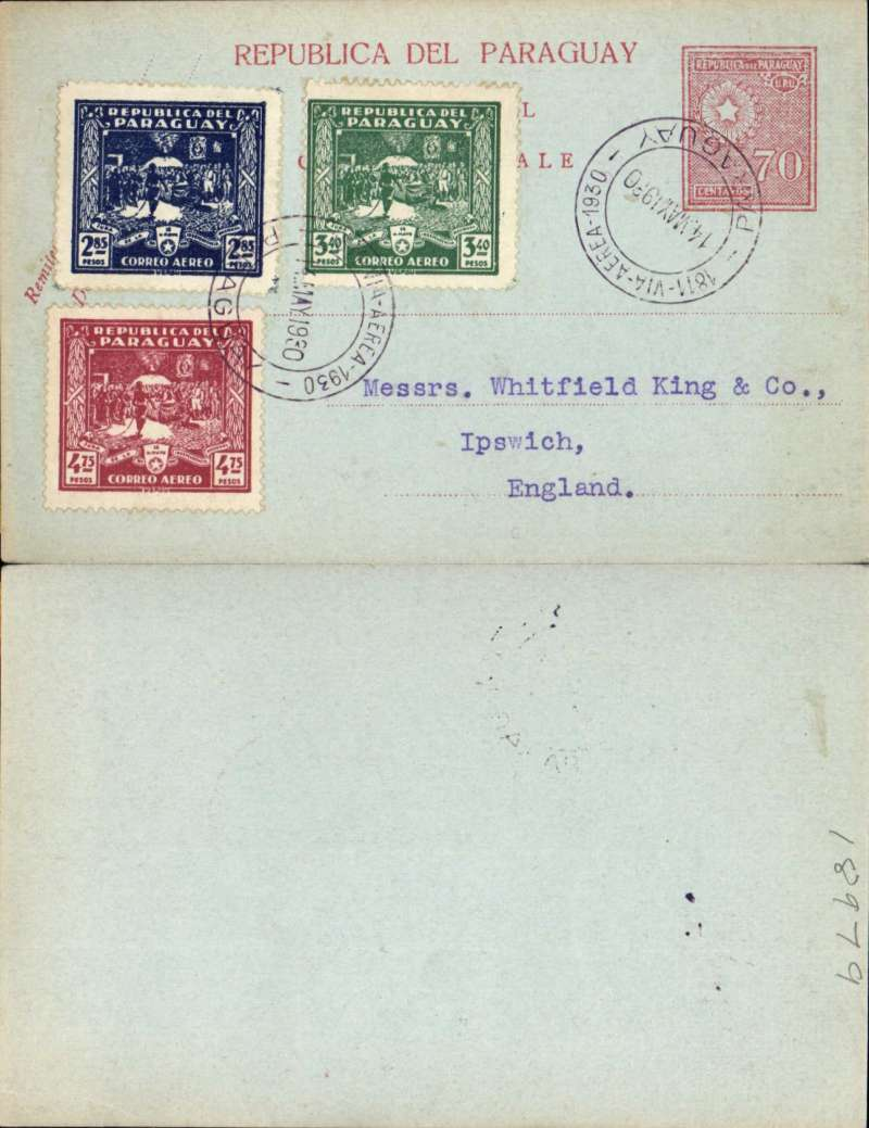 "(Paraguay) 1928, 70 centavos unaddressed red/yellow postal card, with added 1930 Declaration of Independance air set of three, postmarked on FDI with fine strikes ""1811-Via Aerea-1930/14 May 1930/Paraguay"" cds's. Uncommon."
