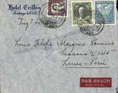 "(Chile) Panagra, Chile to Peru, Santiago to Lima, bs 6/4, commercial ""Hotel Crillon"", Santiago imprint etiquette air cover franked 3P 40c inc 2P air. Uncommon  destination."