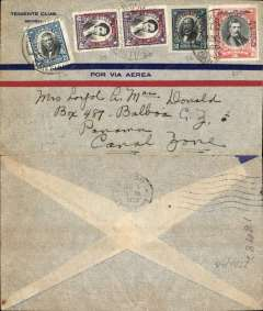 (Chile) Panagra, Chile to Panama, flown Santiago to Cristobal, bs 31/12, Tiente Club airmail corner cover, franked 3P 30 airs and 25c ordinary.