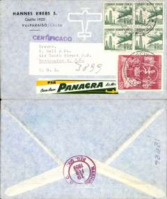(Chile) Panagra, Valparaiso to Washington, bs 19/2, registered (hs) commercial corner airmail cover franked 10P x4 airs and 50P ordinary stamp tying edge of fine yellow/white/green 'Via Panagra' etiquette.